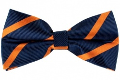 Silk Navy Blue Bow Tie With Orange Stripes